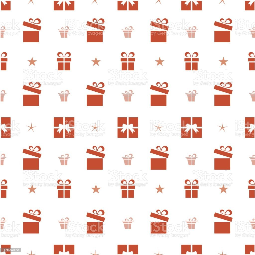 Christmas seamless pattern with red gifts and stars on a white background vector art illustration