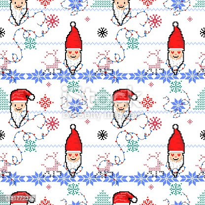 istock Christmas seamless pattern with Santa. Knitted festive illustration. Ugly sweater style. Nordic ornament. 1181772372