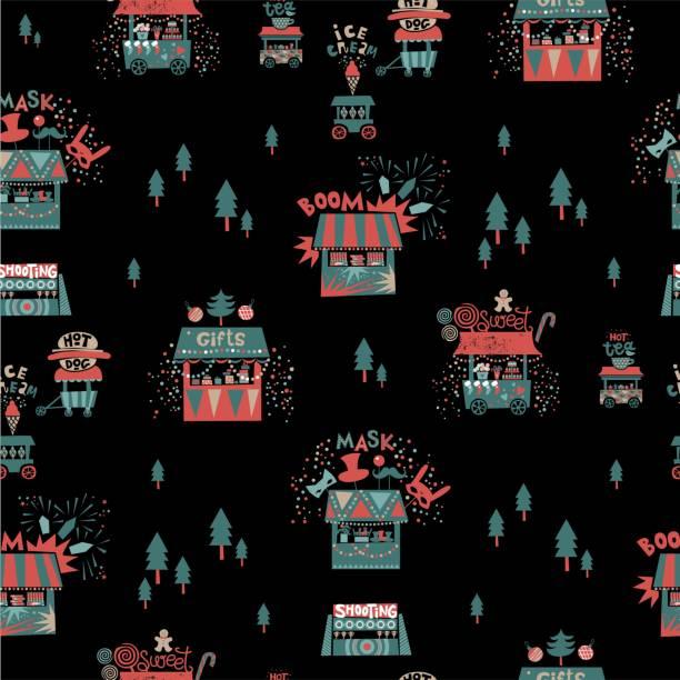 weihnachten musterdesign mit geschäften und weihnachten hintergrund - weihnachtsmarkt stock-grafiken, -clipart, -cartoons und -symbole