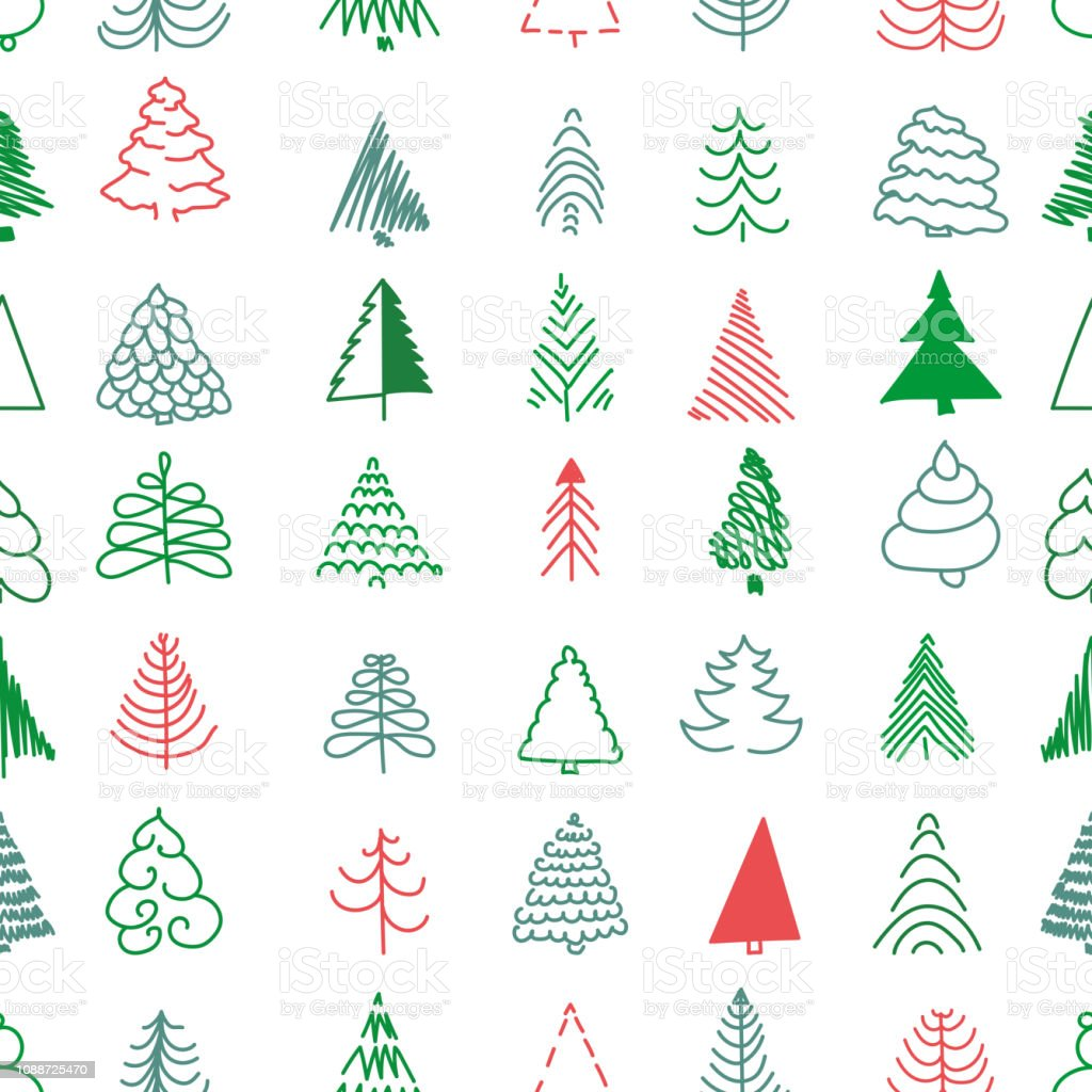 Christmas Seamless Pattern With Simple Minimalist Trees Doodle Forest Cartoon Texture For Greeting Cards Fabric Or Wrapping Paper Design Stock Illustration Download Image Now Istock
