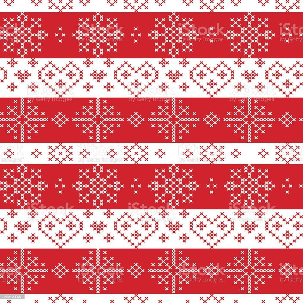 Christmas seamless  pattern with stars, snowflakes,  hearts, decorative elements ilustração de christmas seamless pattern with stars snowflakes hearts decorative elements e mais banco de imagens de amor royalty-free