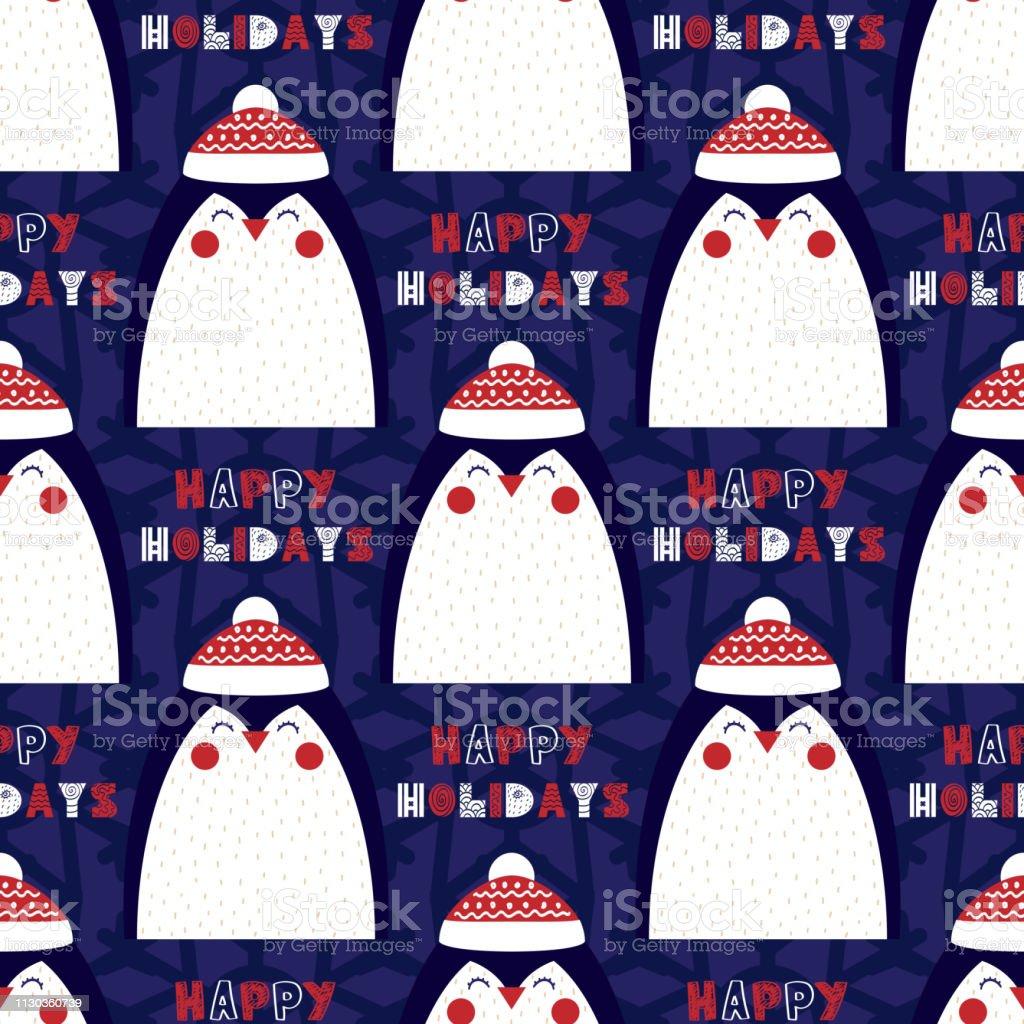 Padrão sem emenda de Natal com a imagem de um pinguim - ilustração de arte em vetor