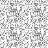 istock Christmas seamless pattern with thin line icons 1176654803