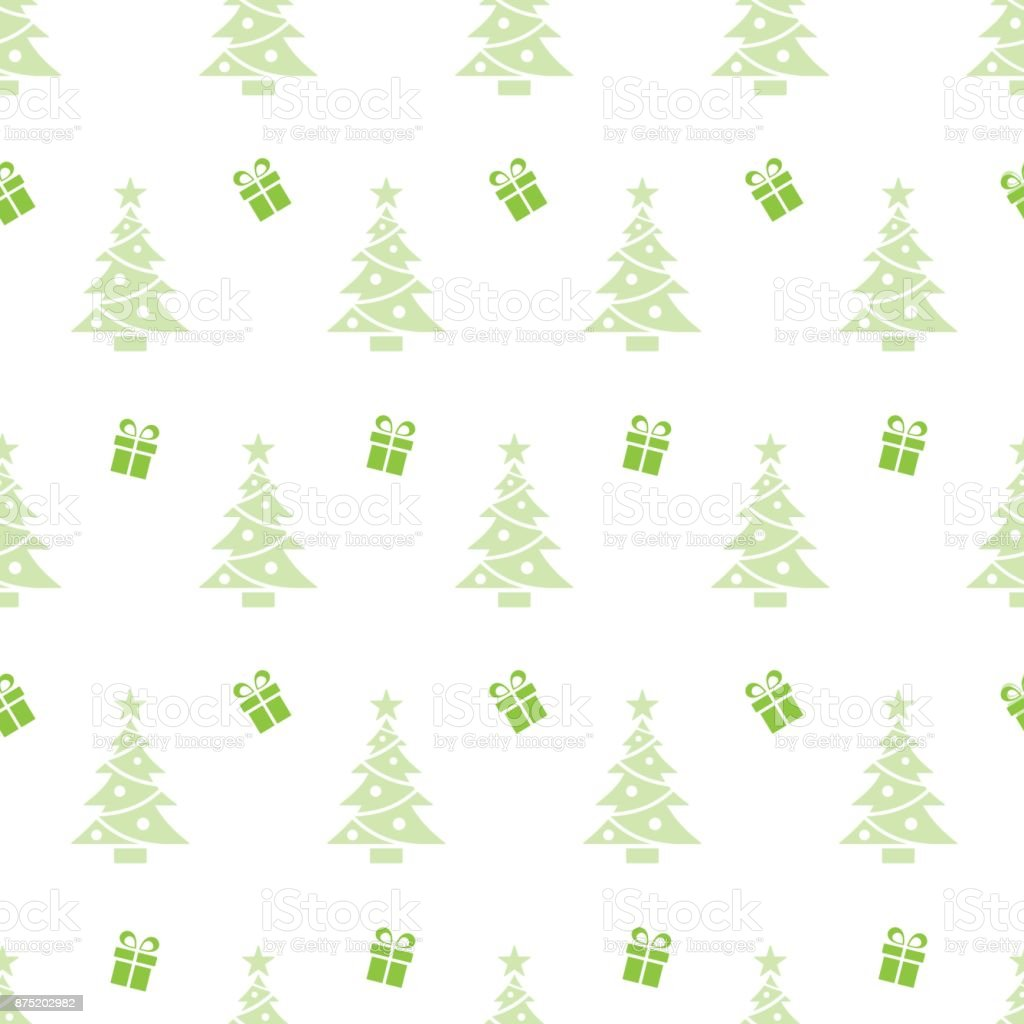 Christmas seamless pattern with trees and gifts on a white background vector art illustration