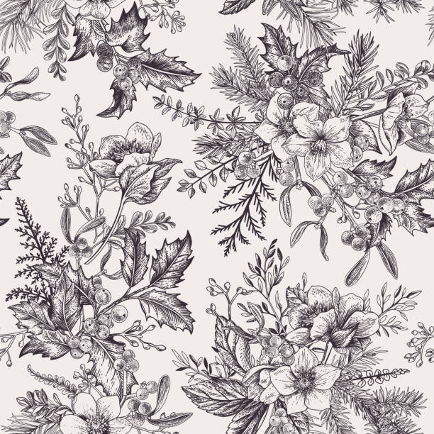 Christmas seamless pattern with winter plants. vector art illustration