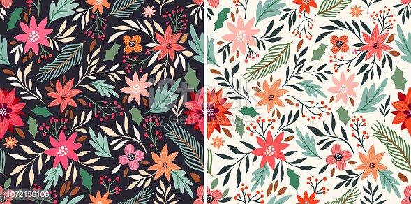 Christmas seamless patterns set with seasonal design