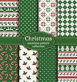 Merry Christmas and Happy New Year! Colorful seamless backgrounds with holiday symbols and patterns: tree ball, reindeer, holly, candy cane, argyle, polka dot and norwegian selbu rose. Vector set.