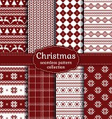 Merry Christmas and Happy New Year! Set of red and white seamless backgrounds for winter or holiday design. Warm textile patterns: argyle, plaid, norwegian and knitted patterns. Vector collection.