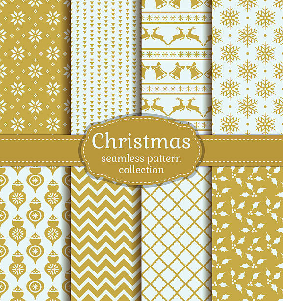 Christmas seamless patterns. Vector set. Merry Christmas and Happy New Year! Set of vintage seamless backgrounds with winter holiday symbols: christmas ball, reindeer, holly, bell, snowflake and suitable abstract patterns. Vector collection. fabric swatch stock illustrations