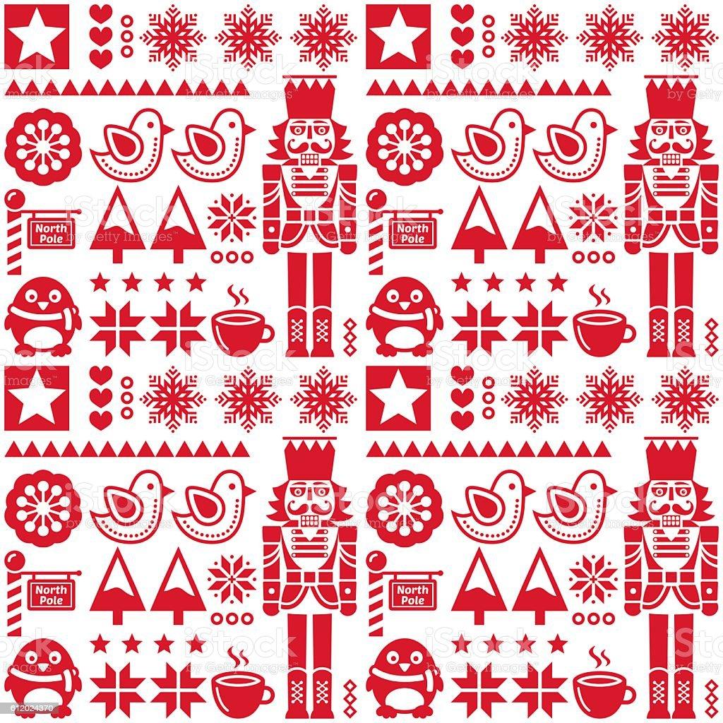 Christmas seamless red pattern with nutcracker - folk art style vector art illustration