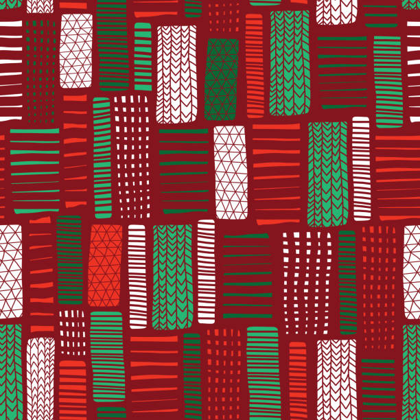 Christmas Seamless vector abstract hand drawn background. Vertical rectangle doodle shapes seamless pattern. Green red white blocks. Modern mosaic art for invitation card, New Year, fabric, web banner vector art illustration