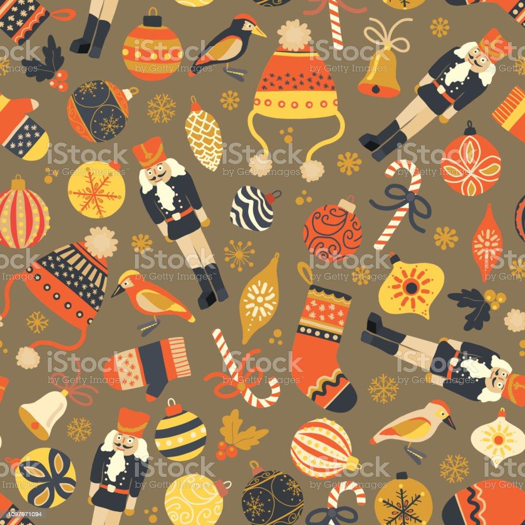 Christmas seamless vector pattern vintage background. Nutcracker, hat, mitten, stocking, candy cane vector art illustration