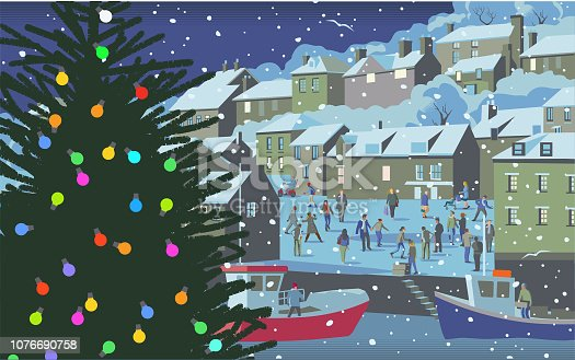 Coastal scene at Christmas in traditional retro style