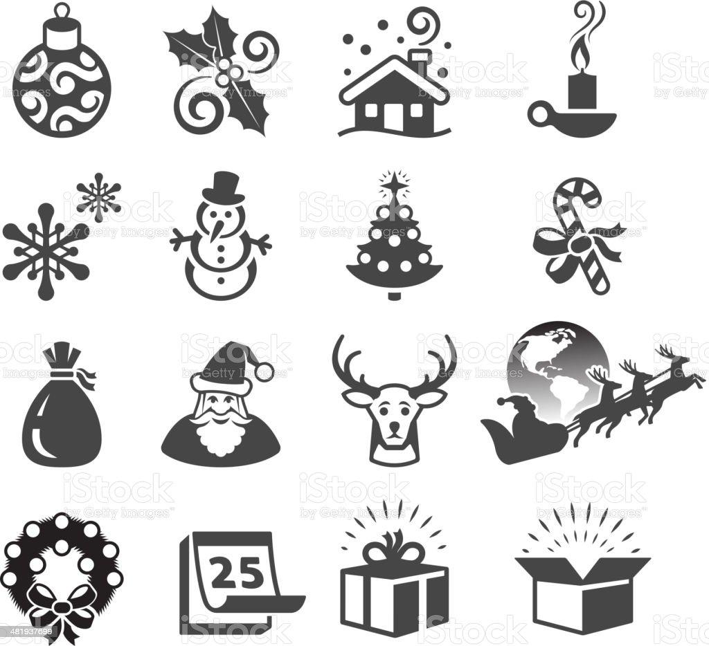 Christmas Season and Traditions black & white vector icon set. royalty-free stock vector art