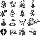 Christmas Season black & white icon set