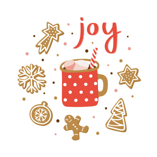 Christmas season hand drawn greeting card. Cute poster with lettering Joy, cocoa cup and gingerbreads. Vector illustration. Christmas season hand drawn greeting card. Cute poster with lettering Joy, cocoa cup and gingerbreads. Vector illustration. hot chocolate stock illustrations