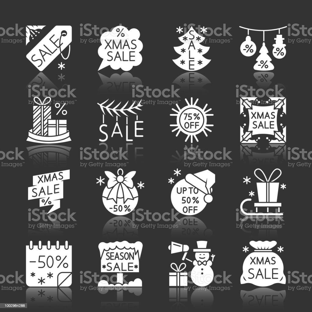 Weihnachtssaison Verkauf Abstand Monochromen Icons Stock Vektor Art ...