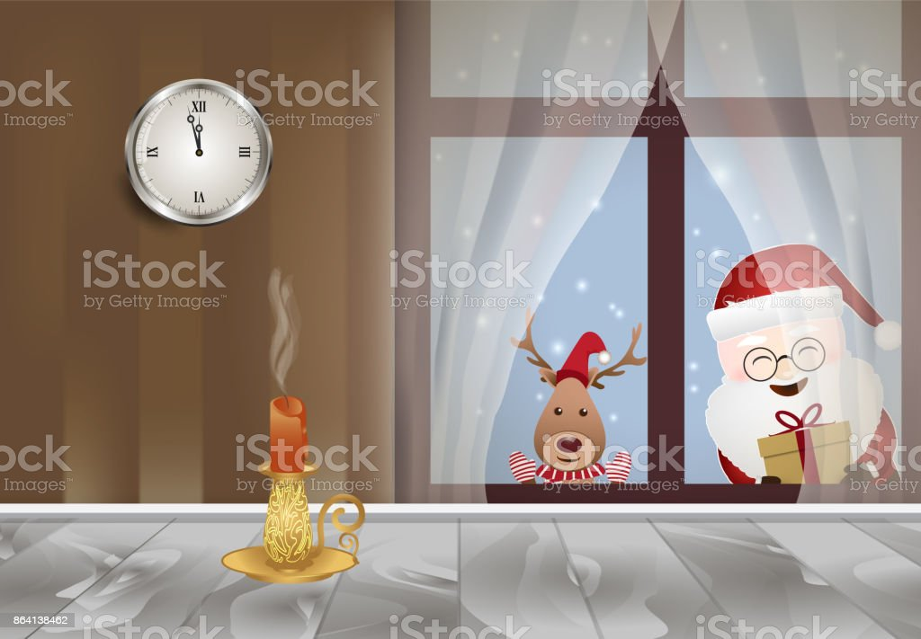 Christmas season Santa holding a gift box standing outside the window with deer royalty-free christmas season santa holding a gift box standing outside the window with deer stock vector art & more images of backgrounds