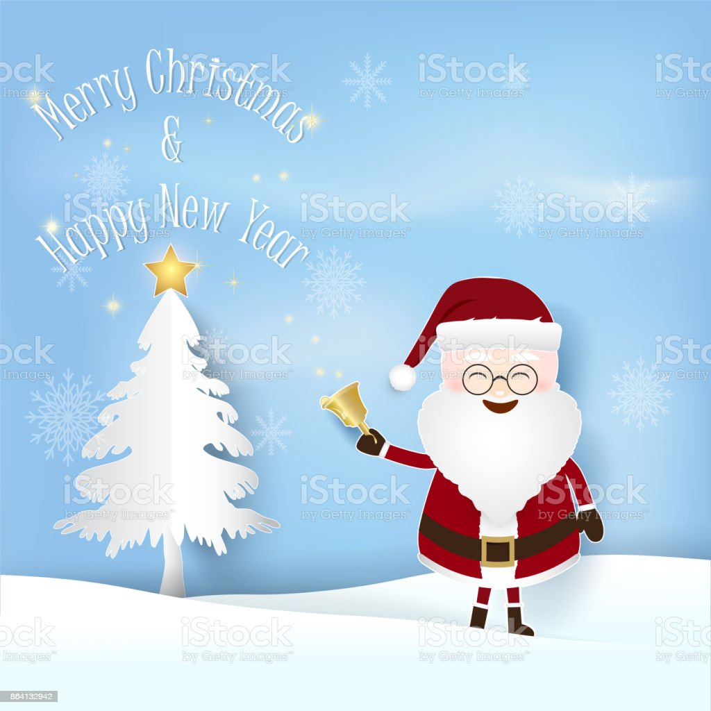Christmas season with Santa and pine tree with glowing star Paper art illustration, Paper cut style royalty-free christmas season with santa and pine tree with glowing star paper art illustration paper cut style stock vector art & more images of abstract