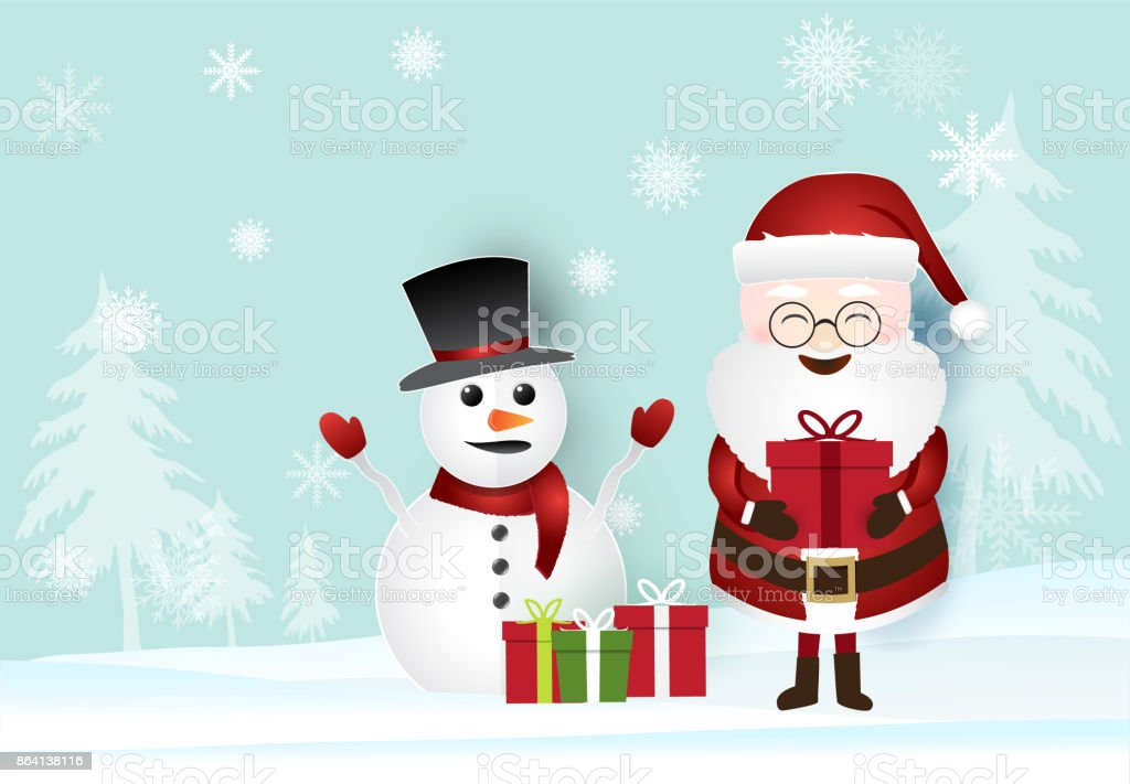 Christmas season with Santa holding gift box and snowman. Paper art illustration royalty-free christmas season with santa holding gift box and snowman paper art illustration stock vector art & more images of art