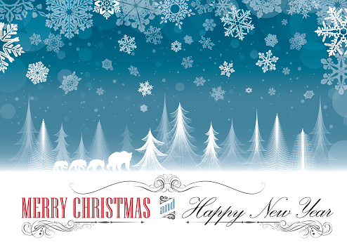 Vector illustration greetings of a Christmas winter scene with fir trees, bears, snowflakes and twinkling stars.Clipping path, gradient and transparencies used on file.File contain EPS10 and large JPEG.