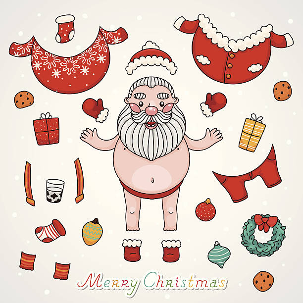 christmas set, dress up santa claus - old man nude clip art stock illustrations
