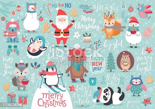 istock Christmas set, hand drawn style - calligraphy, animals and other elements. 1176276786