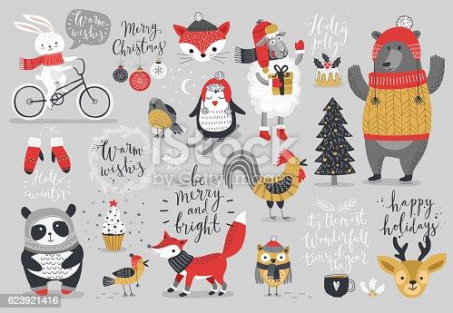 istock Christmas set, hand drawn style - calligraphy 623921416