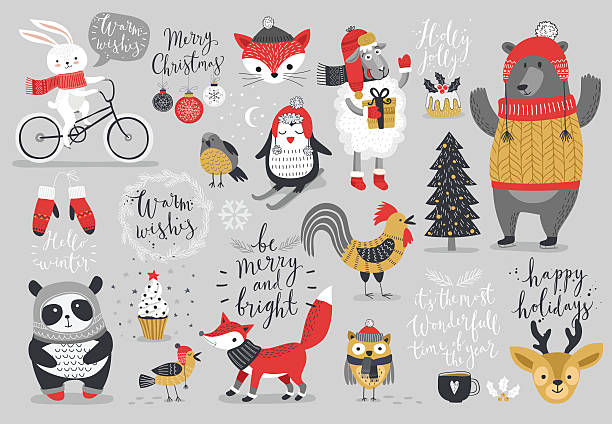 Christmas set, hand drawn style - calligraphy vector art illustration