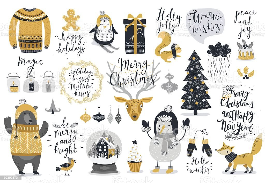 Christmas set, hand drawn style - ilustración de arte vectorial
