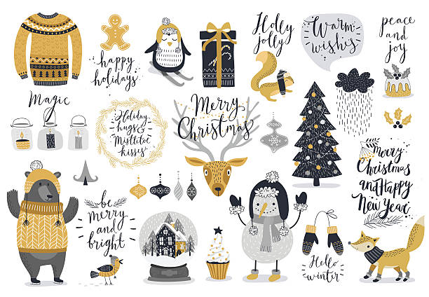 christmas set, hand drawn style - holiday stock illustrations, clip art, cartoons, & icons