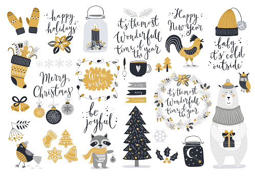 Christmas set, hand drawn style clipart