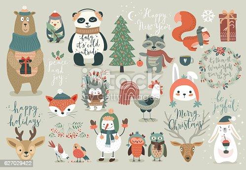 istock Christmas set, hand drawn style 627029422