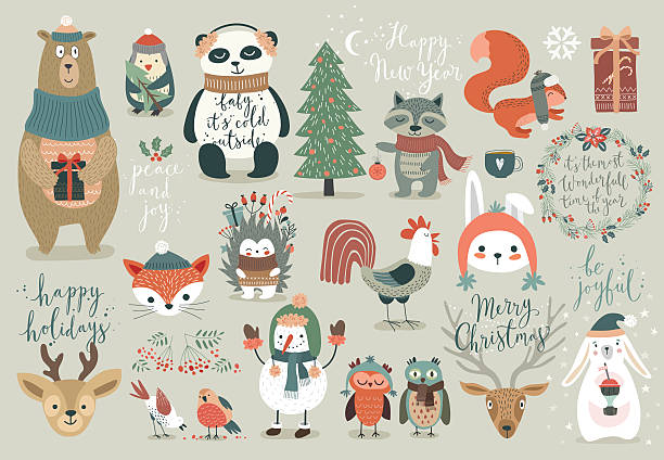 Christmas set, hand drawn style vector art illustration