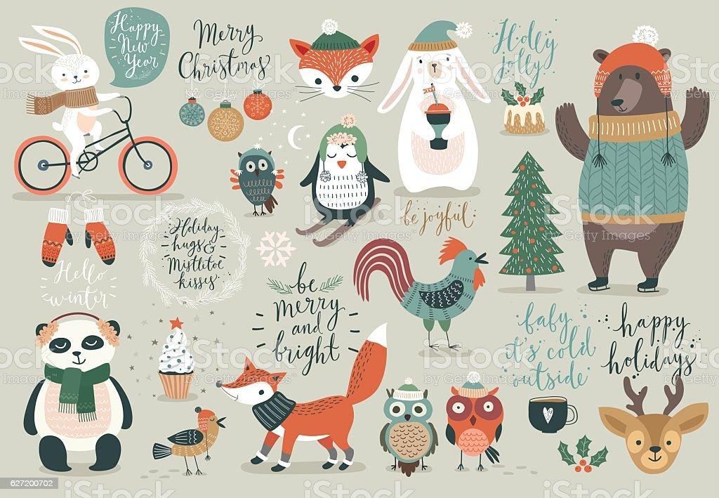 Christmas set, hand drawn style向量藝術插圖