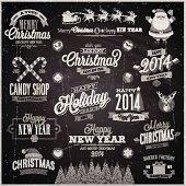 Christmas set - labels, emblems and other decorative elements