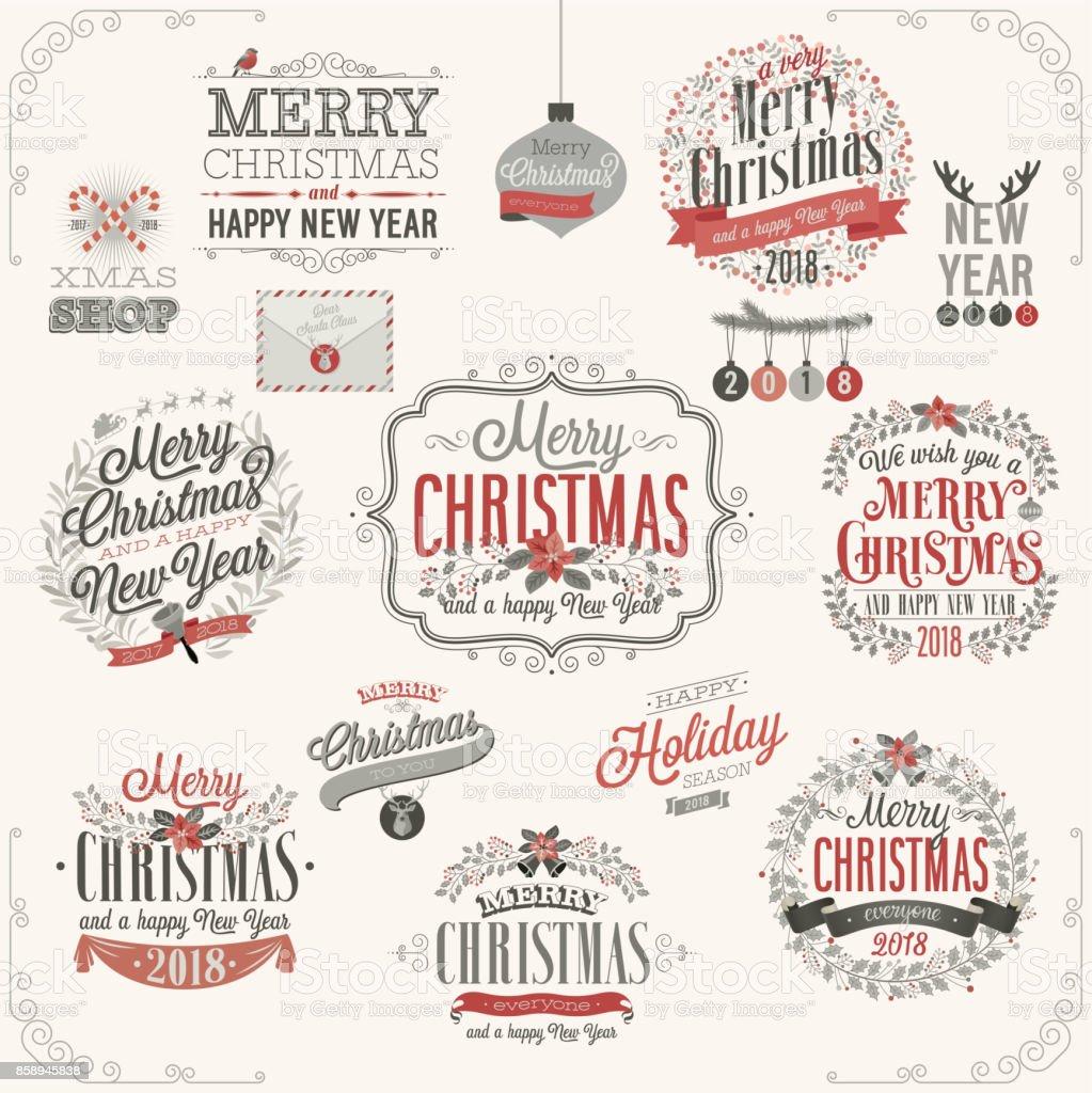 Christmas set - labels christmas set labels - immagini vettoriali stock e altre immagini di albero royalty-free
