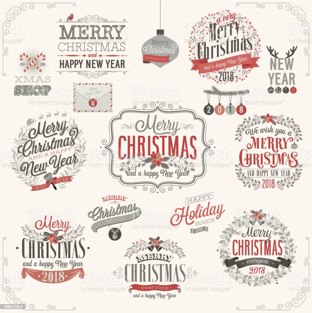 Christmas set - labels vector art illustration