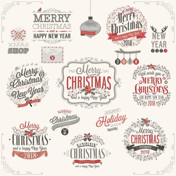 christmas set-etiketten - ferien und feiertage stock-grafiken, -clipart, -cartoons und -symbole