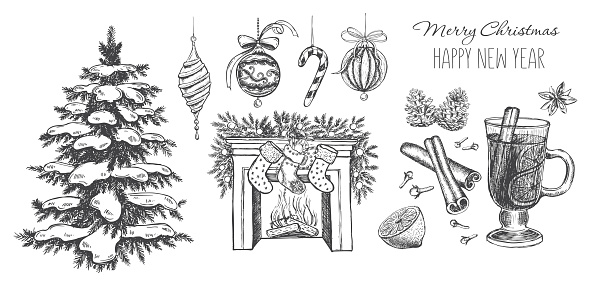 Christmas set, Mulled wine, Fireplace, tree. Hand drawn illustration
