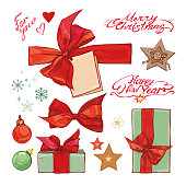A Christmas set of drawn vector elements. Christmas greeting gifts, bows, artistic text, ink drawing.