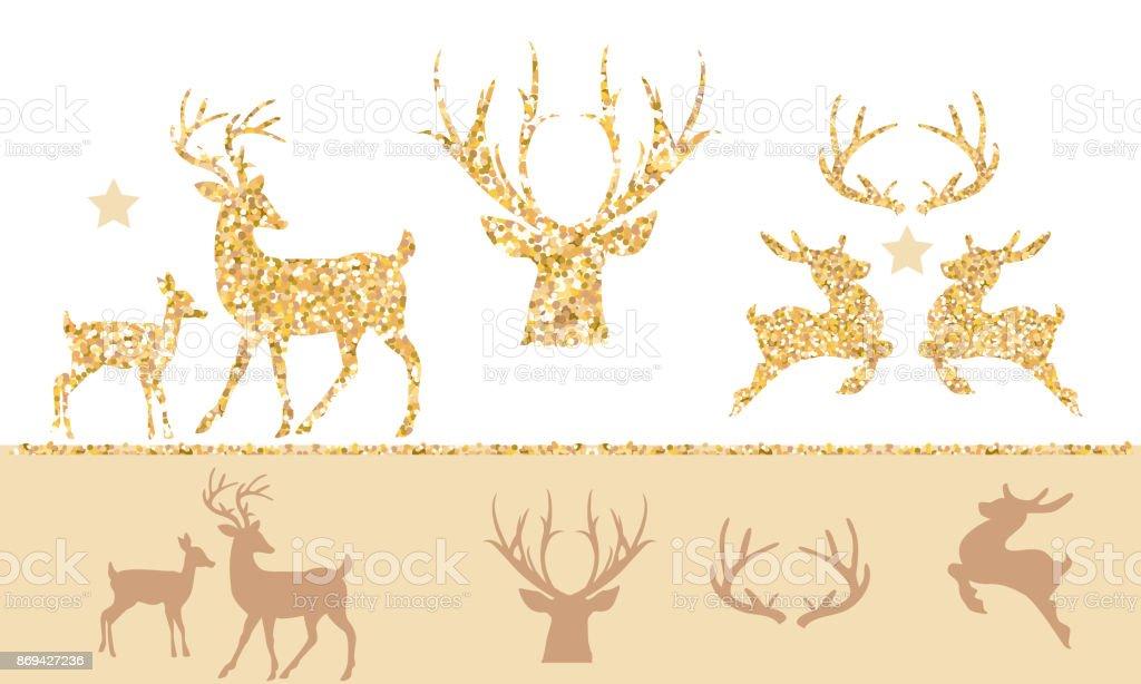 Christmas set of gold glitter reindeer.
