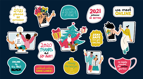 Christmas set of stickers with funny smart quotes and characters