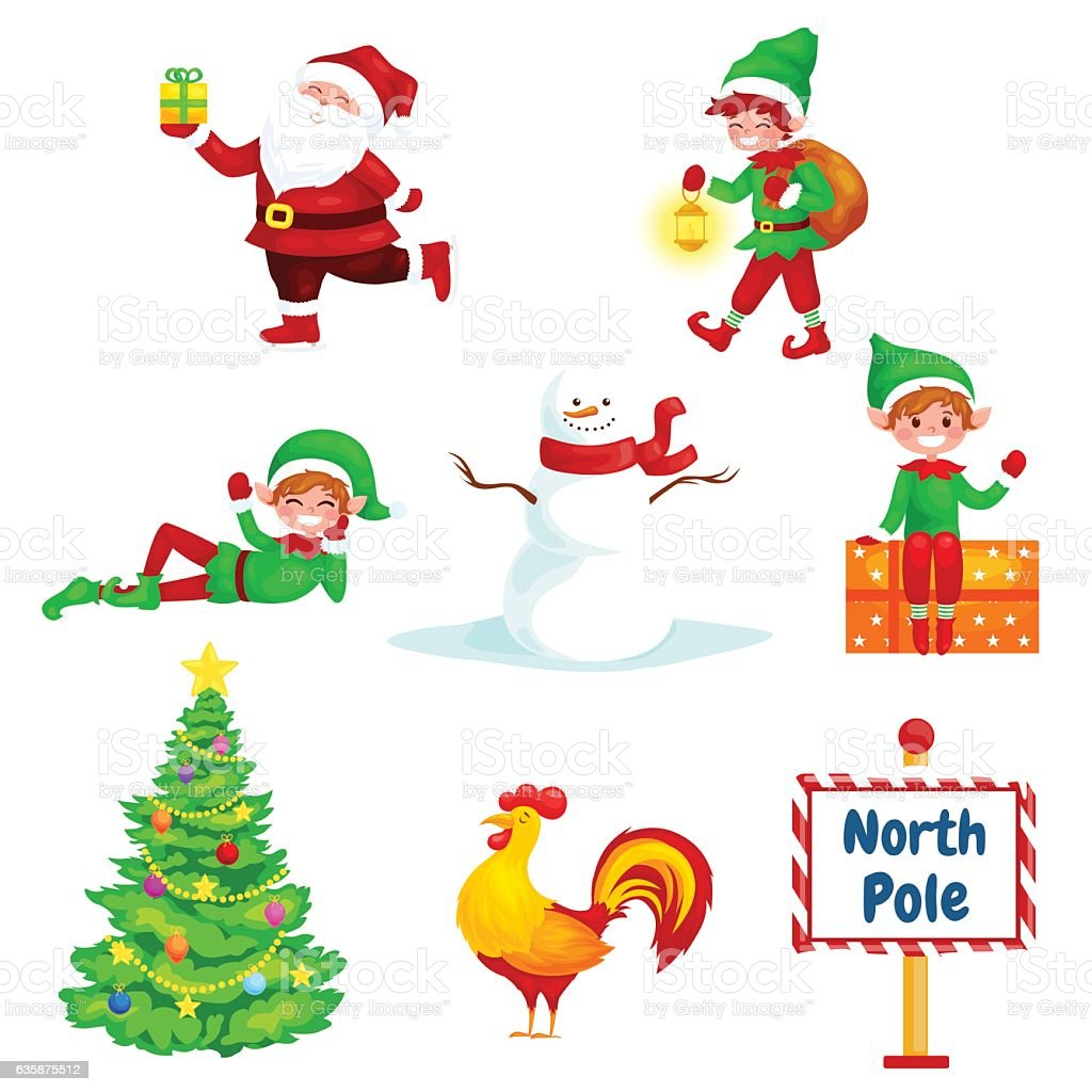 Christmas Set.Christmas Set Santa With Gifts Santa Helpers Sign North Pole