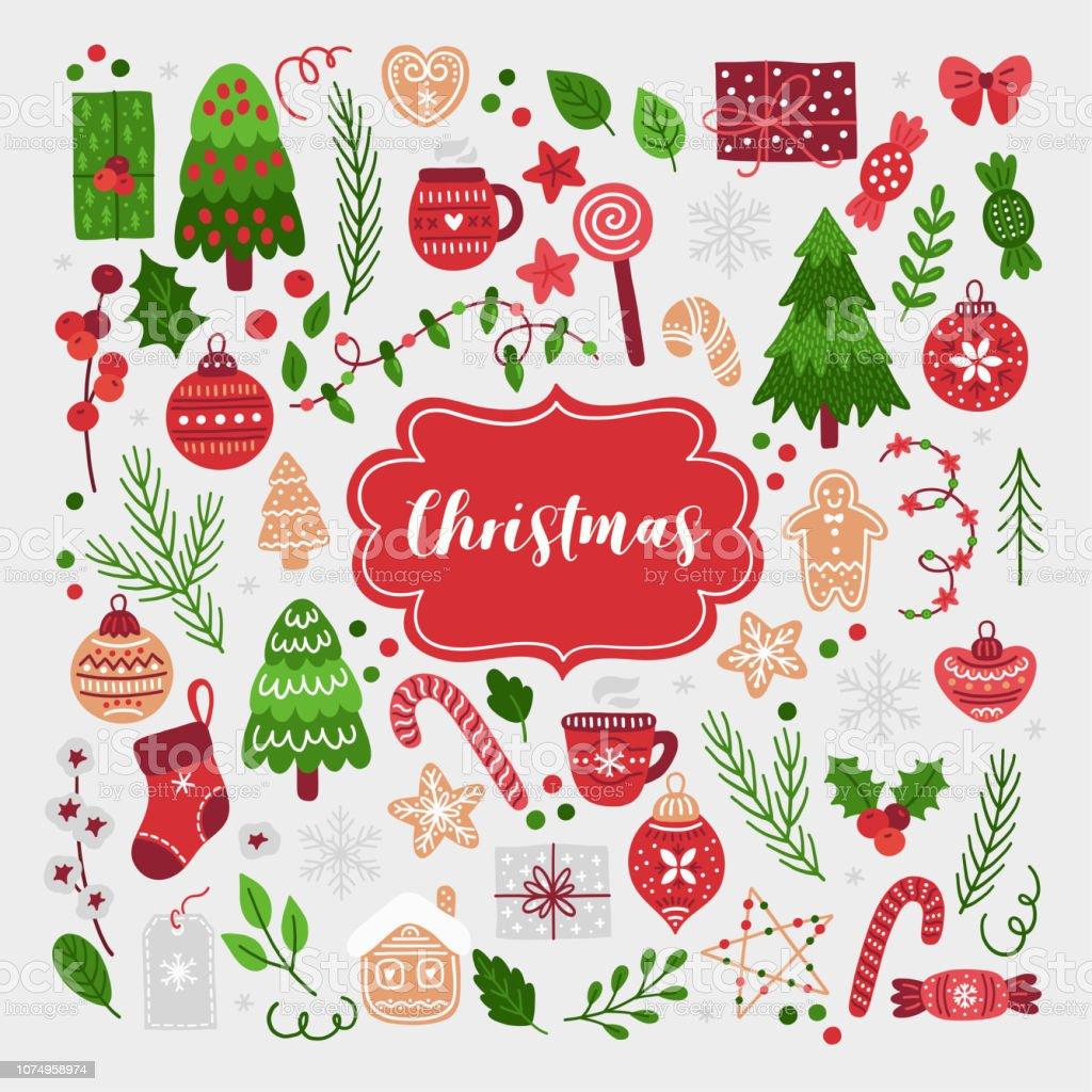 Christmas Set - Royaltyfri Bomull - Textil vektorgrafik