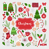 Set of Christmas design elements with tree, snowflake, garland, ball, rowan berry, fir branches, gift, ginger cookies, candy, cup of tea, cotton branch, star, xmas sock. Perfect for season decorations.