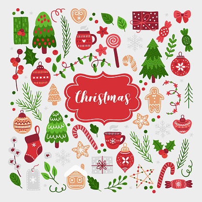 Christmas Set-vektorgrafik och fler bilder på Bomull - Textil