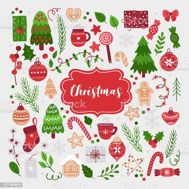 Christmas Set - Arte vetorial de stock e mais imagens de Abeto