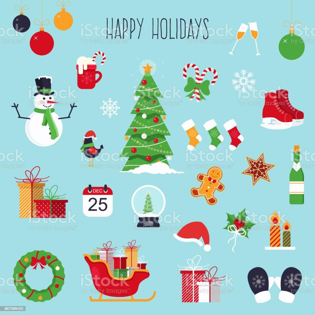 Conjunto de Natal - ilustração de arte em vetor