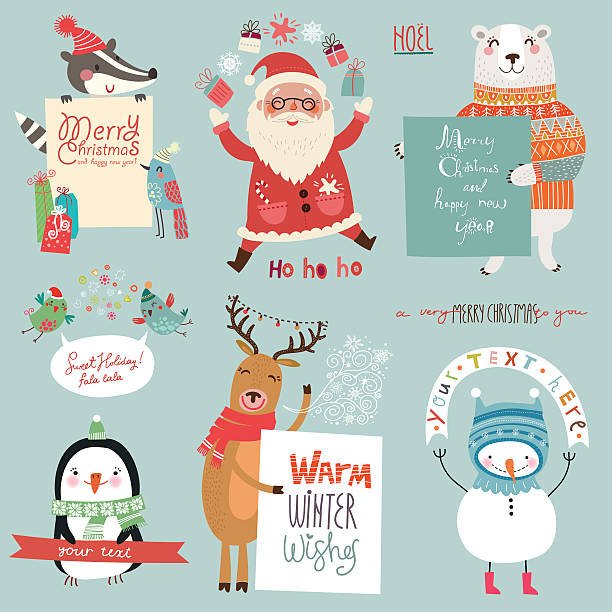 Christmas set with cute characters vector art illustration